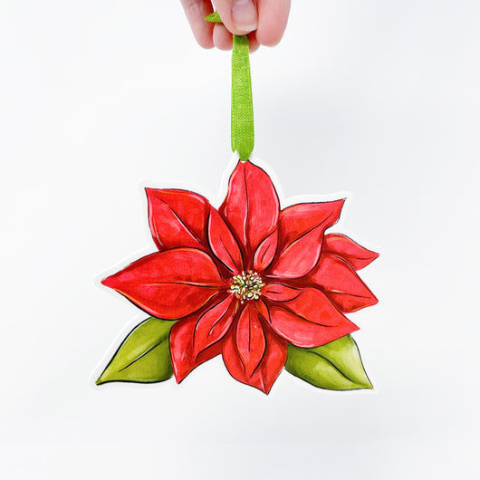 Red Poinsettia Flower Ornament Made In USA Home Malone New Orleans
