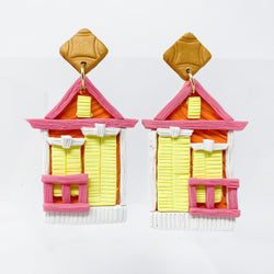 Shotgun House Earrings New Orleans Art