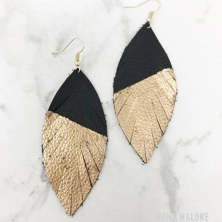 Black & Gold Dipped Feather Earrings