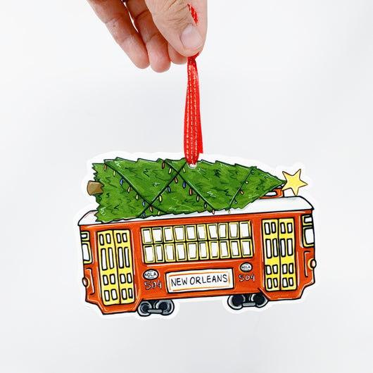 Christmas Tree Red Streetcar New Orleans, LA Ornament Home Malone