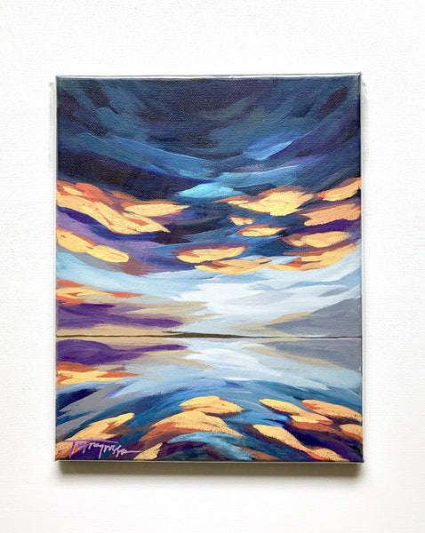 "Navy + Orange Skyscape; 8"" x 10"""