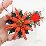 Handmade Crawfish Claw Poinsettia Ornament Home Malone