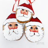Cypress Knee Slab Santa Ornaments