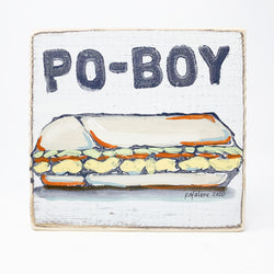 Home Malone Kitchen Art Wood Sign Po-Boy New Orleans