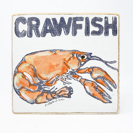 Home Malone Crawfish Wood Kitchen Art Sign