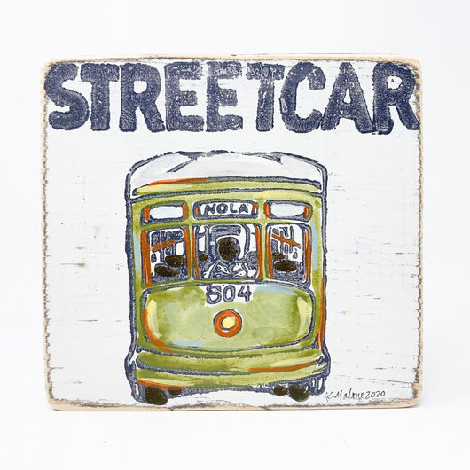 Home Malone New Orleans Green Streetcar Art Kitchen Wood Sign