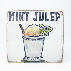 Home Malone Cocktail Art Mint Julep Wood Sign Kitchen