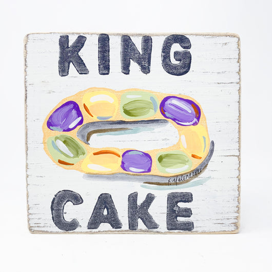 Home Malone King Cake Wood Sign Kitchen Mardi Gras Art