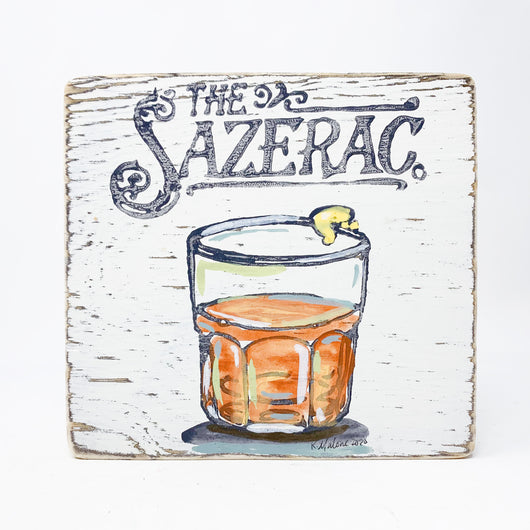 Home Malone Cocktail Art Wood Sazerac Kitchen Sign New Orleans