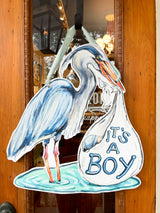 It's A Boy Blue Heron Door Hanger
