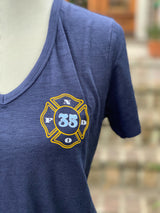Mid City Love Engine 35 Ladies V-Neck