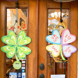 Valentine's Day St. Patricks Day Four Leaf Clover Candy Heart Door Hanger Home Malone