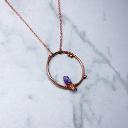 Amethyst Hoop Necklace