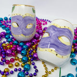 Carnival Mask Stemless Wine Glass