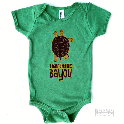 New Orleans Baby Gifts and Baby Registry, Bayou Onesie for New Orleans Baby