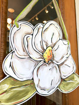 Magnolia Door Hanger, Pretty Door hanger for southern door decor. New Orleans art for all seasons at Home Malone, the best place to shop local in New Orleans.