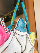 Snowball door hanger for summer door decor. Display this New orleans art for a fade proof door wreath of a snowcone painting. Find it at New Orleans best retail store Home Malone.