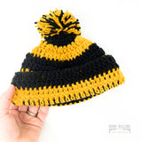Toddler Black & Gold Knit Hat