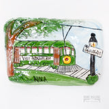 Uptown New Orleans Green Streetcar Ceramic Plaque