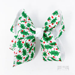 Christmas Gifts for New Orleans Kids, Holiday Holly Hair Bow Made in Louisiana