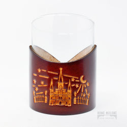 Cathedral Leather Wrap Lowball Glass