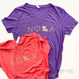 NOLA V-Neck Tee: Purple