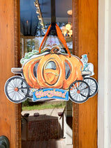 Storyland Pumpkin Carriage Door Hanger