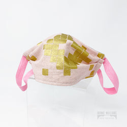 Adult Face Mask - Pink / Gold Squares