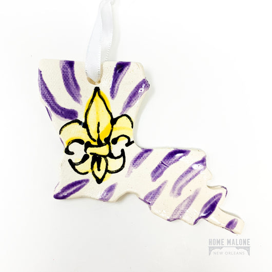 LSU Tiger Stripe Louisiana Ceramic Ornament