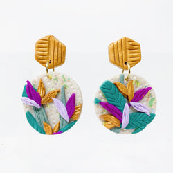 Birds of paradise tropical earrings.
