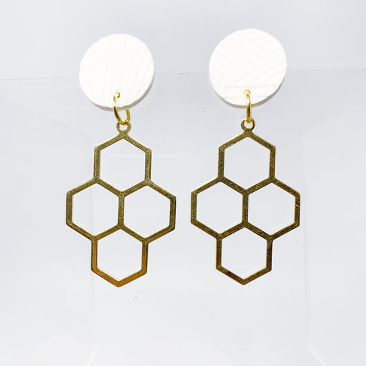 White Textured + Brass Honeycomb Earring