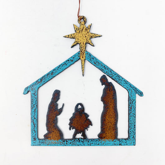 Metal Nativity Ornament
