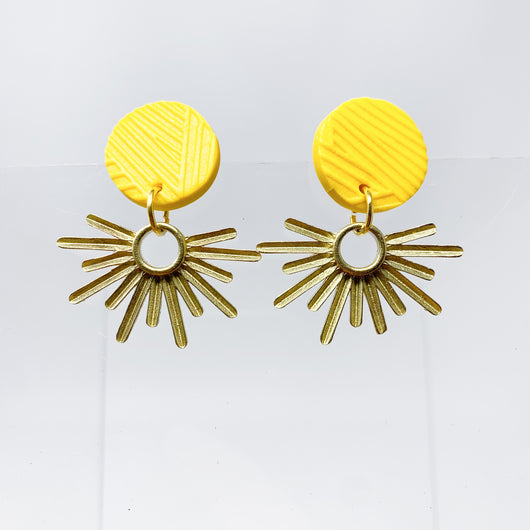 Yellow Textured + Brass Sunburst Earring