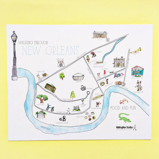 Walking Through New Orleans Map Print