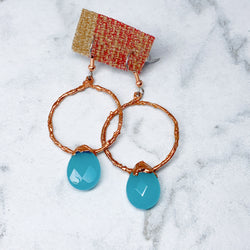 Aqua Agate Hoop Earrings