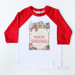 Makin Groceries New Orleans Style Baseball Tee for Kids, Gifts for Kids that are Locally Made in New Orleans