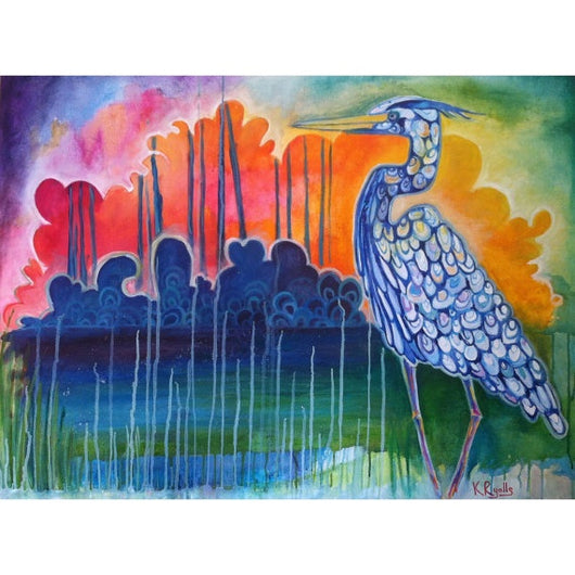 KR Blue Heron Sunset Canvas Print