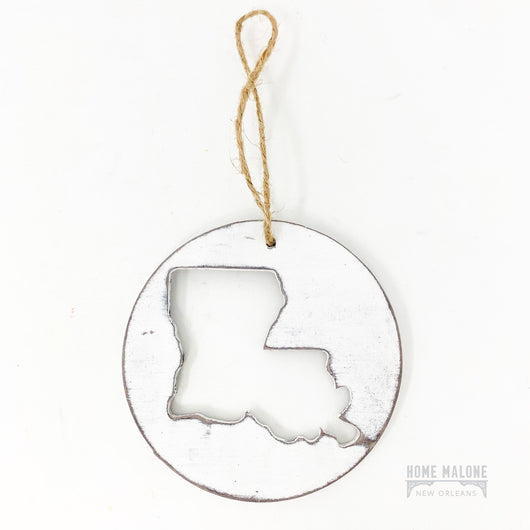 Round Wood Louisiana Ornament