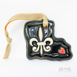 Louisiana Heart Ceramic Ornament