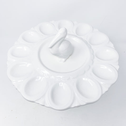 White Ceramic Pelican Deviled Egg Tray Made In USA