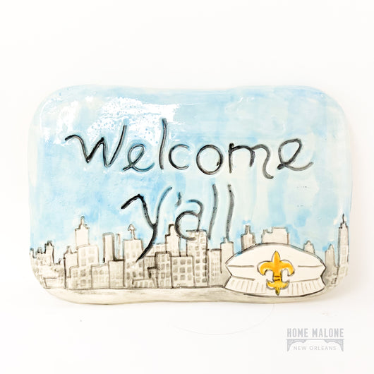 Welcome Y'all Skyline Ceramic Plaque