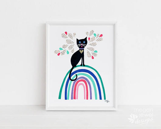 Rainbow Cat Print - 8 in x 10 in