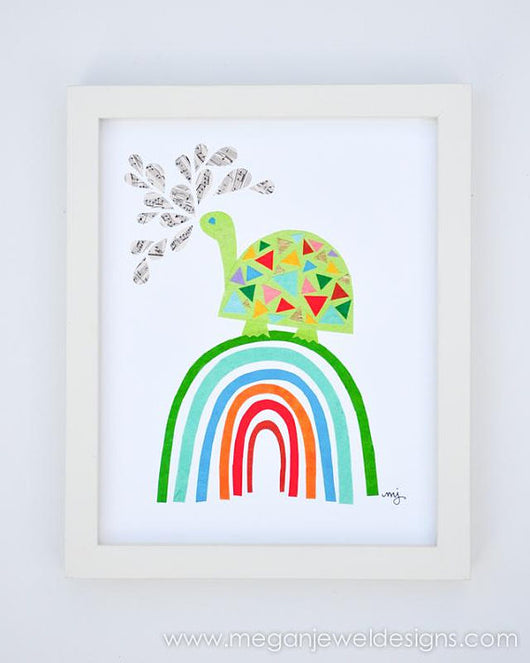Rainbow Turtle Print - 8 in x 10 in