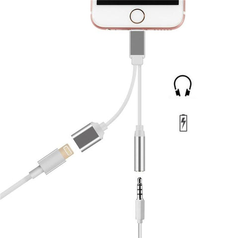 Dual Earphone & Charging Cable For iPhone (Lightning)