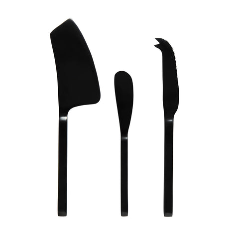 Asta 3pc Cheese Cutlery Set Black