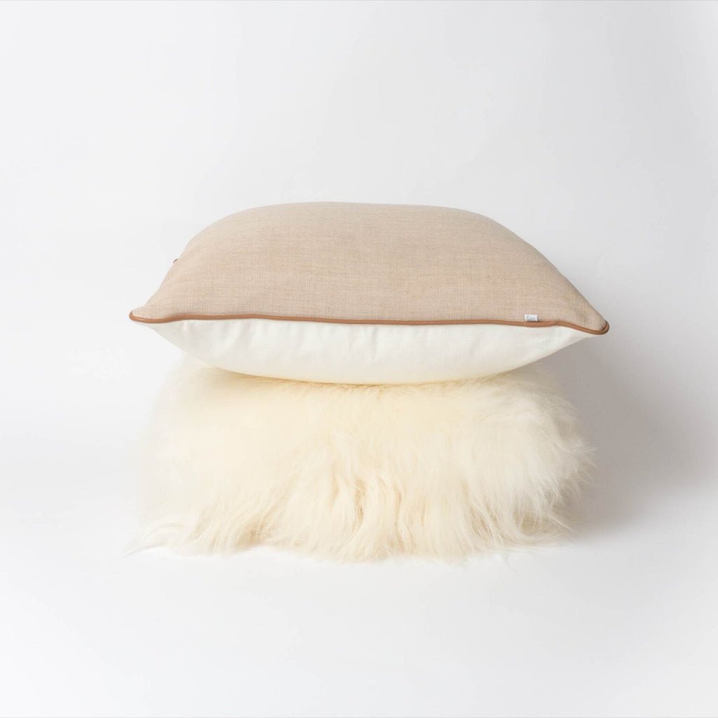 Piper Cushion | Tan White + Natural