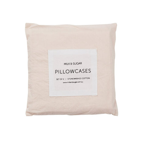 Stonewashed Pillow Cases Bedding Blush