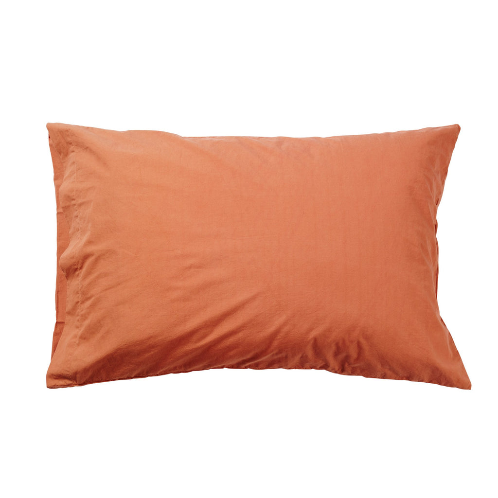Stonewashed Cotton Pillow Case Set - Persimmon