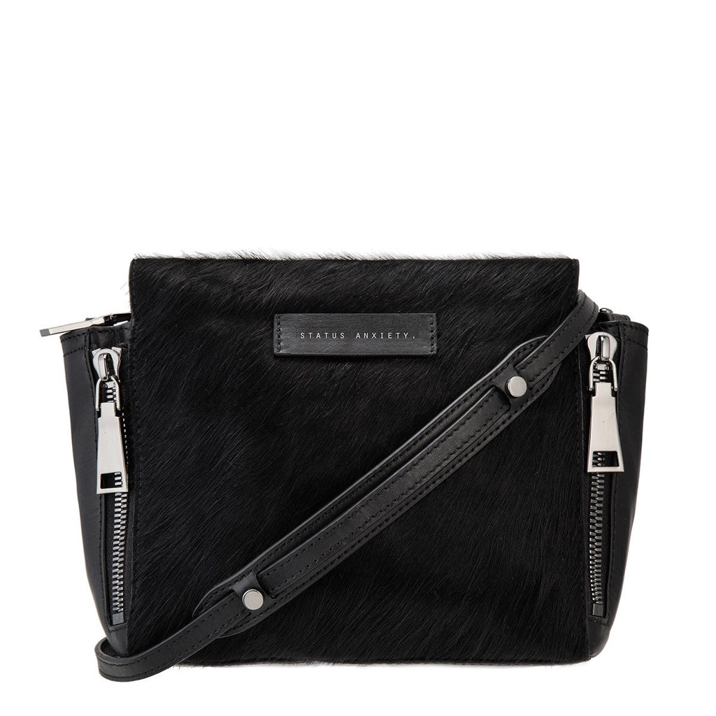 Status Anxiety Ascendants Leather Fur Bag Black ILKA HOME