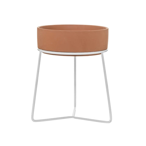 Terracotta Flowerpot and White Metal Stand Danish Design Bloomingville